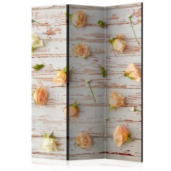 Artgeist 3-teiliges Paravent - Wood & Roses [Room Dividers]