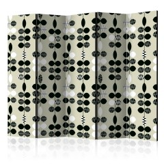 Artgeist 5-teiliges Paravent - Black and White Dots II [Room Dividers]