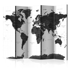 Artgeist 5-teiliges Paravent - Black and White Map II [Room Dividers]
