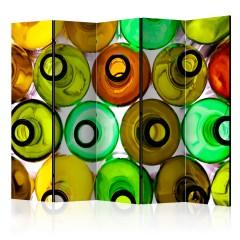 Artgeist 5-teiliges Paravent - bottles (background) II [Room Dividers]