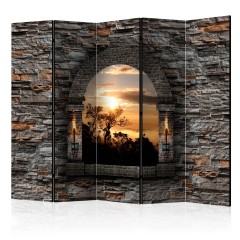Artgeist 5-teiliges Paravent - Castle Window II [Room Dividers]