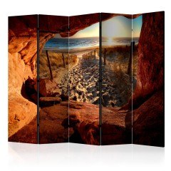 Artgeist 5-teiliges Paravent - Cave: Beautiful Beach II [Room Dividers]
