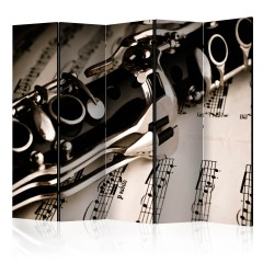 Artgeist 5-teiliges Paravent - Clarinet and music notes II [Room Dividers]