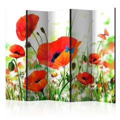 Artgeist 5-teiliges Paravent - Country poppies II [Room Dividers]