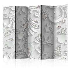 Artgeist 5-teiliges Paravent - Flowers with Crystals II [Room Dividers]