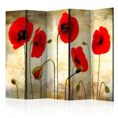 Artgeist 5-teiliges Paravent - Golden Field of Poppies II [Room Dividers]
