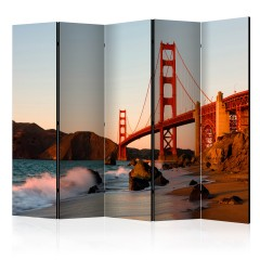 Artgeist 5-teiliges Paravent - Golden Gate Bridge - sunset, San Francisco II [Room Dividers]