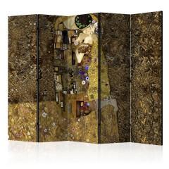 Artgeist 5-teiliges Paravent - Golden Kiss II [Room Dividers]