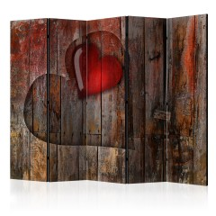 Artgeist 5-teiliges Paravent - Heart on wooden background II [Room Dividers]