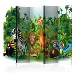 Artgeist 5-teiliges Paravent - Jungle Animals II [Room Dividers]