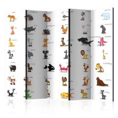 Artgeist 5-teiliges Paravent - Learning by playing (animals) II [Room Dividers]