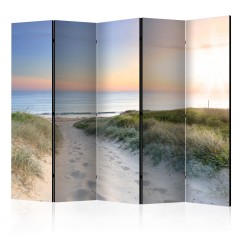 Artgeist 5-teiliges Paravent - Morning walk on the beach II [Room Dividers]