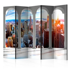 Artgeist 5-teiliges Paravent - Pillars and New York II [Room Dividers]