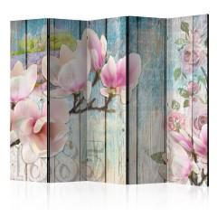 Artgeist 5-teiliges Paravent - Pink Flowers on Wood II [Room Dividers]