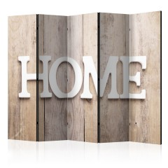 Artgeist 5-teiliges Paravent - Room divider – Home on wooden boards