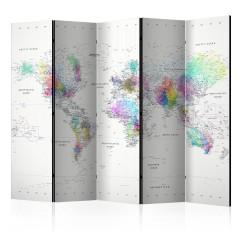 Artgeist 5-teiliges Paravent - Room divider – White-colorful world map