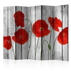 Artgeist 5-teiliges Paravent - Tale of Red Poppies II [Room Dividers]