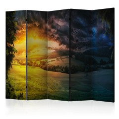Artgeist 5-teiliges Paravent - Twilight over the Valley II [Room Dividers]