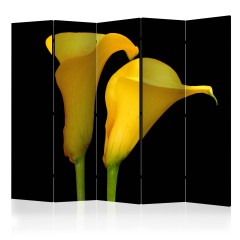 Artgeist 5-teiliges Paravent - Two yellow calla flowers on a black background II [Room Dividers]