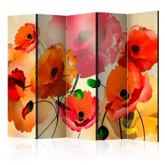 Artgeist 5-teiliges Paravent - Velvet Poppies II [Room Dividers]