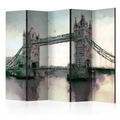 Artgeist 5-teiliges Paravent - Victorian Tower Bridge II [Room Dividers]