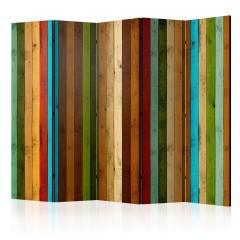 Artgeist 5-teiliges Paravent - Wooden rainbow II [Room Dividers]