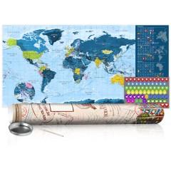 Artgeist Rubbel Weltkarte - Blaue Weltkarte - Poster (Englische Beschriftung)