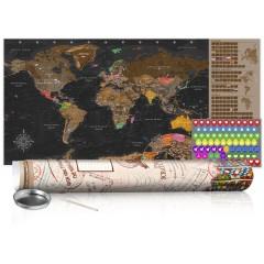 Artgeist Rubbel Weltkarte - Braune Weltkarte - Poster (Englische Beschriftung)