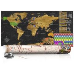 Artgeist Rubbel Weltkarte - Goldene Weltkarte - Poster (Englische Beschriftung)