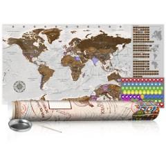 Artgeist Rubbel Weltkarte - Grau Weltkarte - Poster (Englische Beschriftung)
