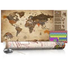 Artgeist Rubbel Weltkarte - Weltkarte Vintage - Poster (Englische Beschriftung)