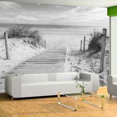 Selbstklebende Fototapete - Am Strand - Schwarz und Weiß