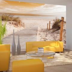Selbstklebende Fototapete - Am Strand - Sepia