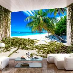 Selbstklebende Fototapete - Beach and Ivy