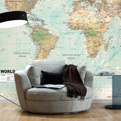Basera® Selbstklebende Fototapete Weltkartenmotiv k-A-0091-a-d, mit UV-Schutz
