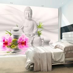 Selbstklebende Fototapete - Buddha und Orchideen