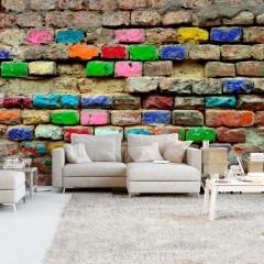 Selbstklebende Fototapete - Colourful Bricks