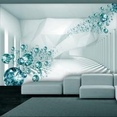Selbstklebende Fototapete - Diamond Corridor (Turquoise)