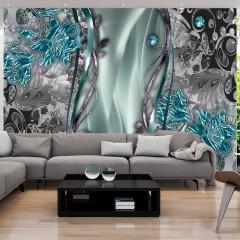 Selbstklebende Fototapete - Floral Curtain (Turquoise)