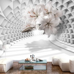 Selbstklebende Fototapete - Flowers in the Tunnel