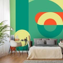 Selbstklebende Fototapete - Geometric Wreath (Green)