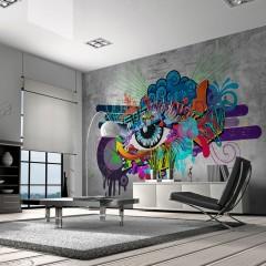Selbstklebende Fototapete - Graffiti eye