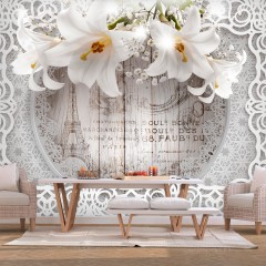 Selbstklebende Fototapete - Lilies and Wooden Background