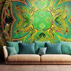 Selbstklebende Fototapete - Mandala: Emerald Fantasy