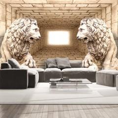 Selbstklebende Fototapete - Mystery of lions