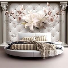 Selbstklebende Fototapete - Steppmuster Royal Elegance mit Blumen