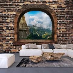 Selbstklebende Fototapete - Stony Window: Mountains