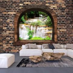 Selbstklebende Fototapete - Stony Window: Waterfalls