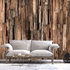 Selbstklebende Fototapete - Wooden Curtain (Brown)