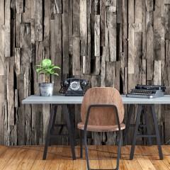 Selbstklebende Fototapete - Wooden Curtain (Dark Brown)
